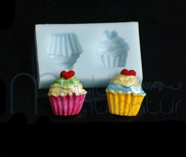 Mini Silikonform - 2 Cupcakes
