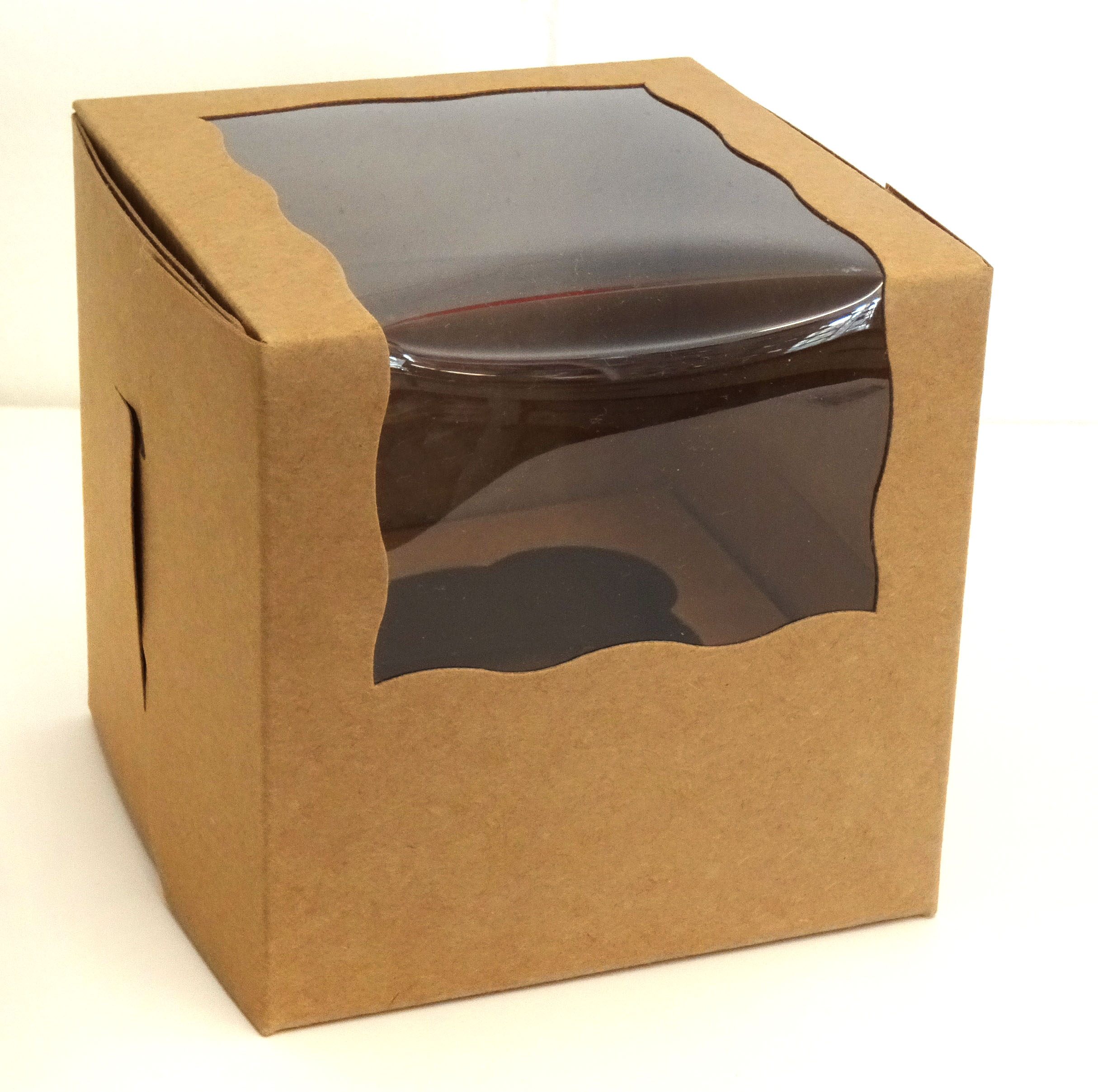 Bake A Cake Single Cupcake Muffin Box Kraft Brown